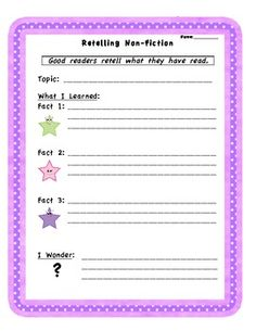 This activity supports reading and retelling non-fiction texts.  Students can use this activity during independent reading, literacy centres and te...