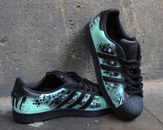 58c5915cb Custom Original Adidas Superstar Mint Abstract Handpainted with special  leather Colours that will forever Stay on the shoes (Doesnt crack or wash  out) Shoes ...