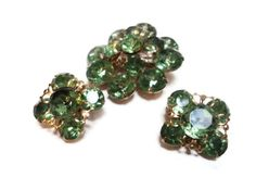Green Rhinestone Brooch and Earring Vintage by EraAntiquesandFinds