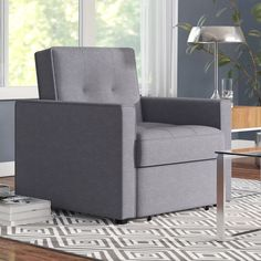 This Convertible Arm Chair Bed featuring ribbed edges and biscuit tufting will fit perfectly in any living space. With a comfort-oriented design, this convertible chair bed is multi-functional converting easily between a chair, chaise lounger, and bed. Sleeper Chair, Chair Bed, Chair And Ottoman, Armchair, Bed Sofa, Daybed, Swivel Chair, Upholstered Dining Chairs, Dining Chair Set