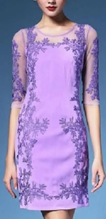 Floral Embroidered Shift Dress-Purple