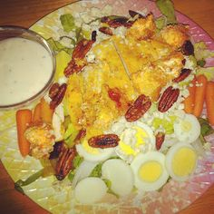 For the Love of Food: Buffalo Blue Cheese Chicken Salad with Cauliflower Croutons and Sugared Pecans