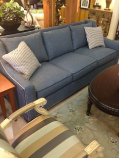 Snappy Blue/Teal Tweed Sofa With Crisp Navy Welt At Cozy Home Store Rideru0027s  Furniture