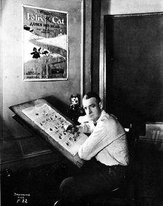 "Pat Sullivan with his ""creation"" Felix the Cat"