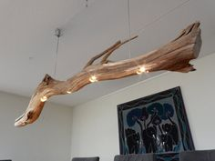 Ceiling lamp dimmable LED lights in old Oak. by GBHNatureArt