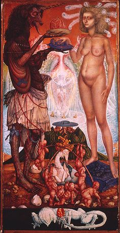 Ernst Fuchs  THE WEDDING OF THE UNICHORN, 1952-60  Watercolor, 36x72cm