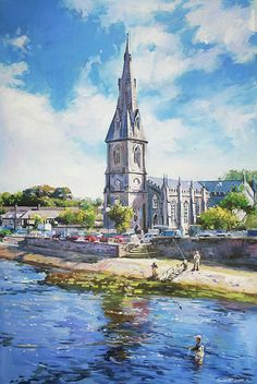 The cathedral where I was baptised over looking the Moy River in Ballina, Co. One of Europes best salmon fishing rivers. Irish Celebration, County Mayo, Irish Landscape, Ireland Homes, Salmon Fishing, Irish Art, Online Art Gallery, Wood Print, Canvas Frame