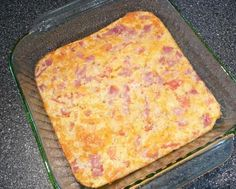 Easy Egg & Ham Casserole  6 beaten eggs, 1 C milk, 1 C chopped ham, 1 C shredded cheese, 1 C chopped tomato, 1/2 t salt, 1/4 t pepper,  2 T melted butter, 1/2 C Bisquick.  Mix all & put in a 9x13 pan.  Bake 35-45 min until knife inserted in center comes out clean. Let sit 5 min before cutting.