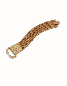 Reloj-joya en oro amarillo, rosa y blanco de 18 kts, hebilla y cierre con diamantes, talla brillante.