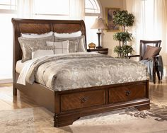 Homelegance Cumberland Platform Bed With Storage Footboard In Medium Brown California King