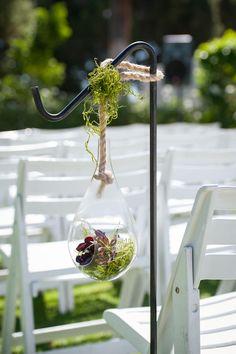 Terrarium Ceremony Aisle Decor | EMMA + JOSH | ACTON COUNTRY FLOWERS | http://knot.ly/6491BtCmd