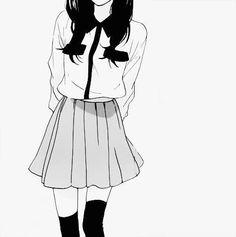 monochrome manga girl