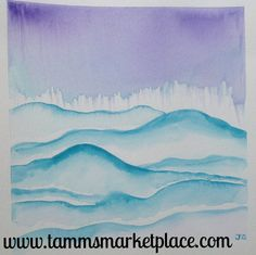 """Blue Hills Original Watercolor Painting 12""""x12"""" Framed Black or White – Tamm's Marketplace"""