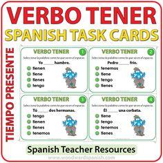 Spanish Task cards to practice the conjugation of the verb TENER. Tarjetas de selección múltiple para practicar la conjugación del verbo TENER en español.