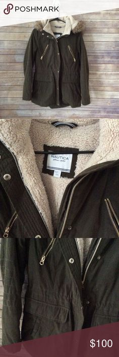 Nautica Faux Fur Long Coat Size L Very warm and cozy lining, the color is a dark green with gold zipper details. This is a longer fitting coat so it goes great with leggings and skinny jeans. Great condition. ❌no trades, holds, or lowball offers. ✅Clean and smoke free home, quick shipping, bundle discount, always! Free gift with $15+ bundle. Nautica Jackets & Coats