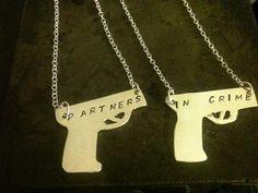 Partners in crime pendant bracelet sterling silver custom handstamped guns pistols fun gift