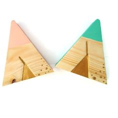 Wood Teepee Ornament, Tribal Nursery Decoration, Office Desk, Pastel... ($22) ❤ liked on Polyvore featuring home, home decor, teal blue home decor, aztec home decor, wooden home decor, teal home accessories and native american home decor