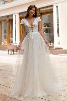 Buy Wedding Dress, Open Back Wedding Dress, V Neck Wedding Dress, Elegant Wedding Dress, Wedding Dresses For Spring, Timeless Wedding Dresses, Casual Wedding Dresses, Full Figure Wedding Dress, Short Ivory Wedding Dress