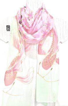 Koi Scarf Hand Painted Silk Scarf Pink Silk by SilkScarvesTakuyo