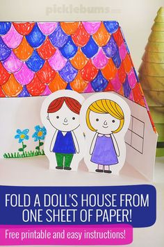 Fold a paper house from one sheet of paper with this free printable template and some easy instructions (Diy Paper Dolls) Paper Doll Template, Paper Dolls Printable, Paper Toys, Paper Crafts, Art For Kids, Crafts For Kids, Paper Doll House, Diy Papier, Operation Christmas Child