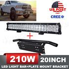 4X4 20inch 210W CREE LED Combo Light Bar With Front Bumper License Plate Offroad
