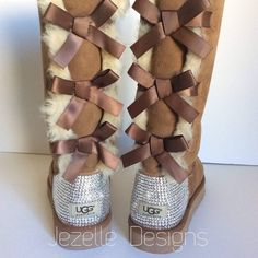 "Custom Uggs with Swarovski Crystals! Are you ready to make an unforgettable impression and show your unique style throughout this season? Jezelle.com has these amazing Authentic ""Bailey Bow"" tall Ugg"