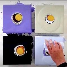 Acrylic Pouring Techniques, Acrylic Pouring Art, Acrylic Art, Acrylic Painting Canvas, Diy Painting, Painting Canvas Sizes, Purple Painting, Using Acrylic Paint, Pour Painting