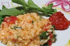 Risoto de tomate seco e rúcula