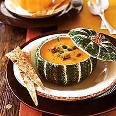 ... base of this soup, but the treat is the candied pumpkin seeds on top