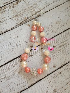Stunning Coral and Ivory chunky necklace, girls jewelry, wedding jewelry, children's necklace, bubblegum jewelry, bubblegum necklace on Etsy, $25.00