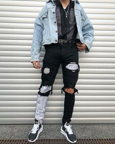 edgy mens fashion are look awesome. 909906 edgy mens fashion are look awesome. Denim Fashion, Look Fashion, Urban Fashion, Fashion Outfits, Fashion Design, Fashion Trends, Edgy Mens Fashion, Fashion Photo, Korea Fashion