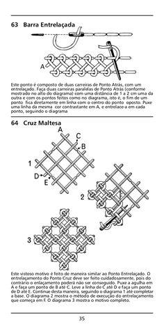 Manual bordado - 100 Pontos de Bordado Hardanger Embroidery, Embroidery Stitches, Hand Embroidery, Kutch Work, Textiles, Bargello, Diagram, Quilts, Sewing