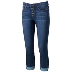 Women's Juicy Couture Button-Fly Capri Jeans ($30) ❤ liked on Polyvore featuring jeans, blue, slim jeans, stretchy jeans, stretch jeans, slim fit stretch jeans and super stretch jeans