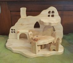 Natural Wooden Waldorf Gnome Home by Folkwood on Etsy Toy House, Gnome House, Handmade Toys, Handmade Crafts, Wood Shop Projects, Popsicle Stick Crafts, Wooden Dollhouse, Waldorf Toys, Montessori Toys