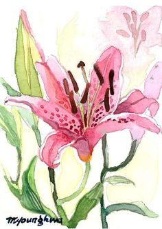 "ACEO Original in Watercolor ""Still Life with Lilies"" 