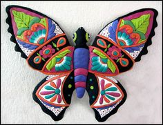 "Butterfly Wall Decor 24"" Painted Metal Outdoor Garden Art by TropicAccents, $49.95"