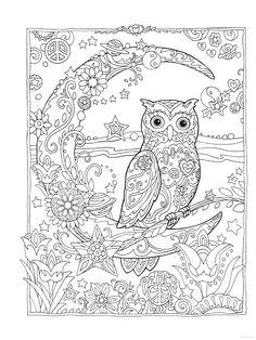 Owl Owls Crescent Moon Flowers Peace Space Coloring pages colouring adult detailed advanced printable Kleuren voor volwassenen coloriage pour adulte anti-stress kleurplaat voor volwassenen Line Art Black and White Abstract Doodle Zentangle Paisley