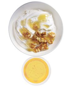 Snack idea: low-fat Greek yogurt with chopped walnuts & honey, #snacks