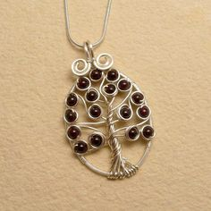 Garnet Celtic Tree of Life Pendant Necklace, Silver Plated, Wire Wrapped