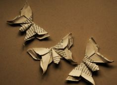 Origami Paper Butterflies Vintage Paper 3 pieces by tillytilda