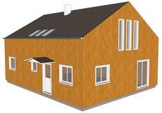 Une toiture à 30° avec des murs rehaussés de 1 m permet d'ajouter 47 m² habitables pour une surface totale de 122 m². Dans l'exemple ci-dessus, les fenêtres hautes et étroites (195x50) donnent un aspect moderne à la maison mais apportent surtout une grande luminosité à l'étage ainsi qu'une vue panoramique.