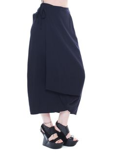 Vintage Comme Des Garcons Long Black Wrap Skirt