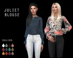 Leo 4 Sims: Juliet blouse recolored • Sims 4 Downloads