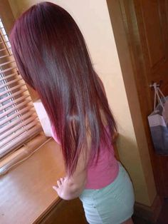 long dark red straight hair