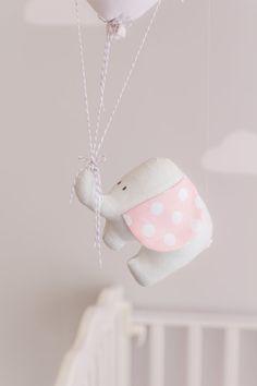 pink elephant baby mobile girls nursery decor pink and grey balloon mobile travel theme nursery decor i34 - Etsy Baby Room