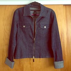 DKNY JEANS - Jean Jacket Brand: DKNY JEANS     Size: Medium          High waist blue jean jacket with a little metallic look to it, folded cuffs, zip up, two pockets, light/medium weight. DKNY Jackets & Coats Jean Jackets