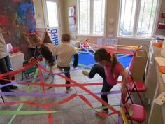 GROSS MOTOR: Check out this wonderful activity that encourages balance, motor planning, coordination and body awareness. Weaving through a rainbow by Teach Preschool Gross Motor Activities, Rainy Day Activities, Gross Motor Skills, Indoor Activities, Learning Activities, Preschool Activities, Teach Preschool, Indoor Games, Activity Days