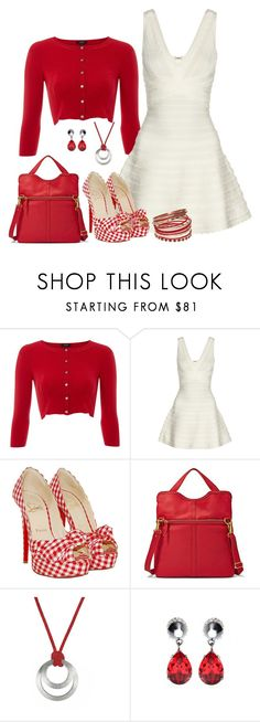 """""""Red Check"""" by southerngirl-n-michigan ❤ liked on Polyvore featuring Hobbs Invitation, Hervé Léger, Christian Louboutin, FOSSIL, Givenchy and Carlos by Carlos Santana"""