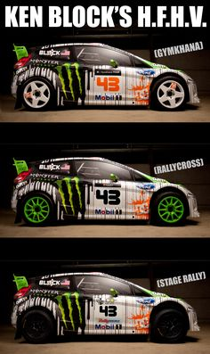 Ken Block's H.F.H.V. 2011 livery. Hybrid Function Hoon Vehicle. This one car can be configured for three separate racing and driving styles.