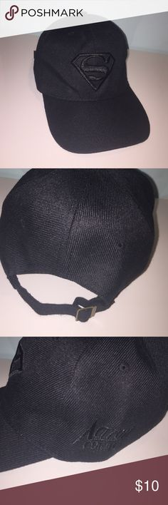 """New!!!! Cute Black Superman Hate!! Very cute black hat. I personally don't like the white letters underneath the cap """"flexfit"""". But other than that it fits nicely. And I've never used   For more than a second (just to see how it looks on) so it's super clean. 🤗 MAKE me an offer!!!!! Accessories Hats"""